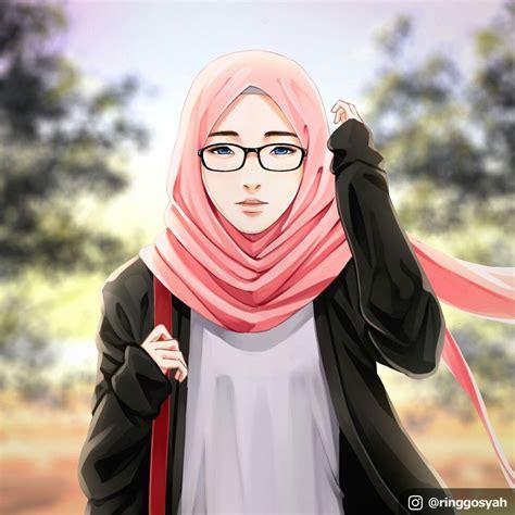 pretty girl  hijab  glasses drawing artwork