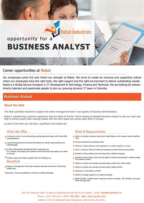 Mba Information Systems Opportunities by Business Analyst Vacancy In Sri Lanka