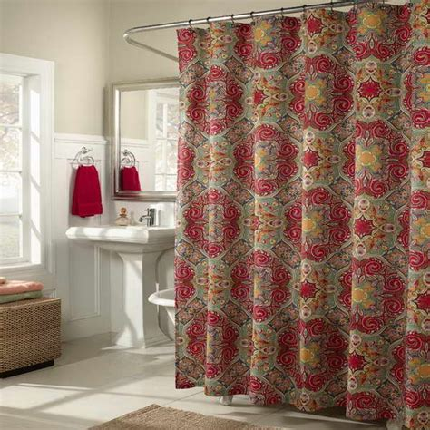 shower curtains designer fabric bloombety fabric shower curtains with red towel natural