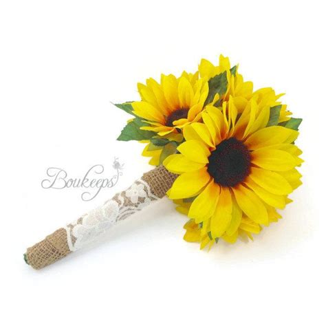 wedding bouquet toss sunflower bouquet with burlap and ivory lace sunflower