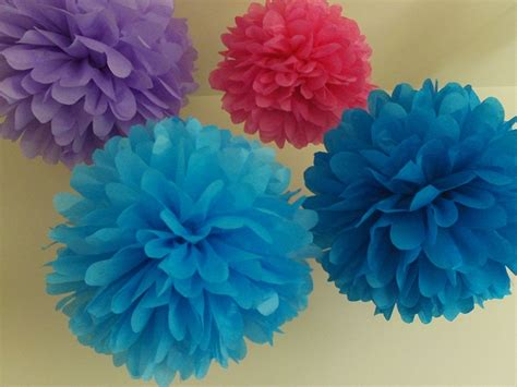 Pom Poms From Tissue Paper - 6 tissue paper pom poms you colors by tissue paper