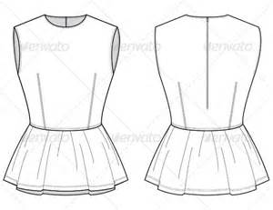 fashion flat sketches for leather peplum top graphicriver