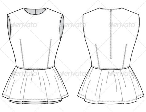 fashion illustration flat drawing fashion flat sketches for leather peplum top by studio524 graphicriver