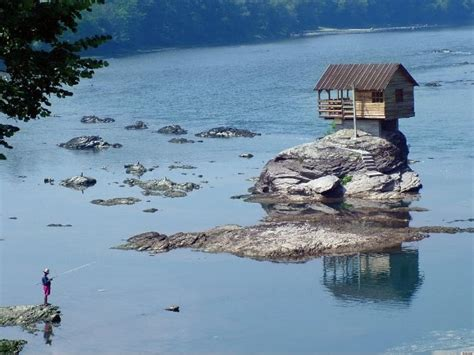 Small House Plans Under 1200 Sq Ft by Tiny Home On Drina River In Serbia Sits On Rock Surrounded