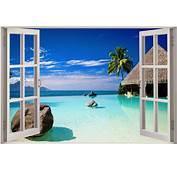 Huge 3D Window View Exotic Ocean Beach Wall Sticker Film
