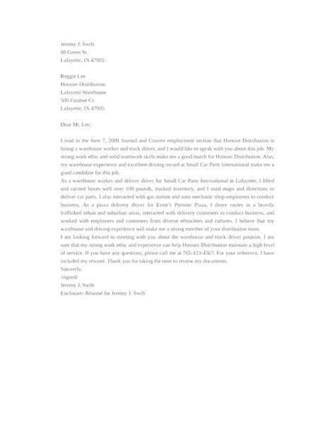cover letter warehouse driver basic warehouse driver cover letter sles and templates