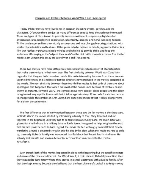 Compare Contrast Exle Essay by Comparison And Contrast Essay
