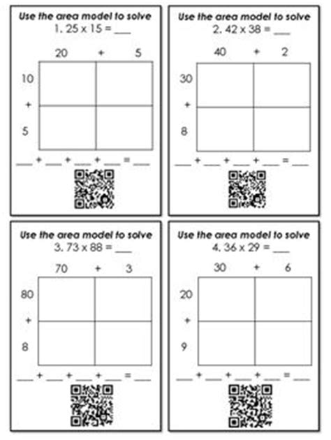 area model multiplication worksheets multiplication with area models and partial products qr code task cards models products and