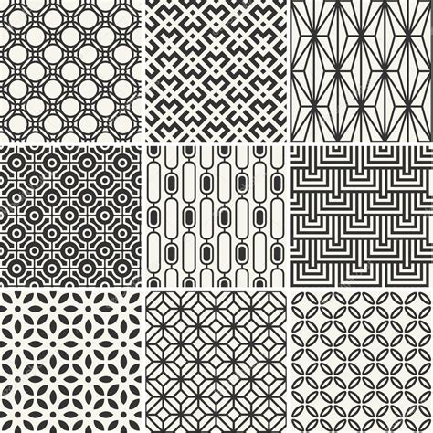 Einfache Motive by Set Of Endless Monochrome Simple Patterns Stock Vector