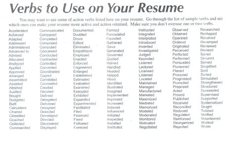 verbs to use on resume resume verbs list christopherbathum co