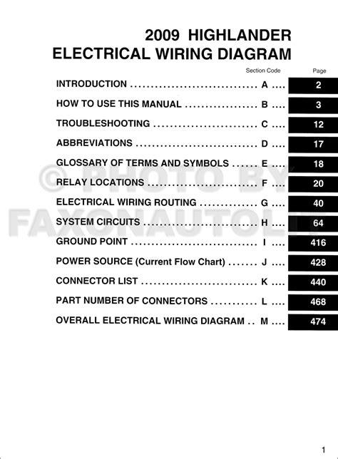 2009 Toyota Highlander GAS Wiring Diagram Manual Original