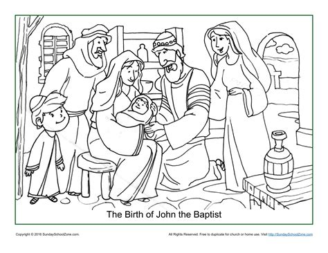 free bible coloring pages of john the baptist the birth of john the baptist coloring page children s
