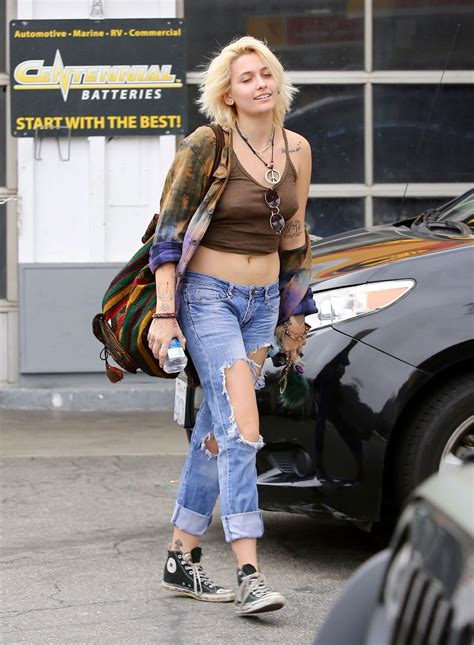 paris jackson in jeans paris jackson in ripped jeans and skimpy top at a gas