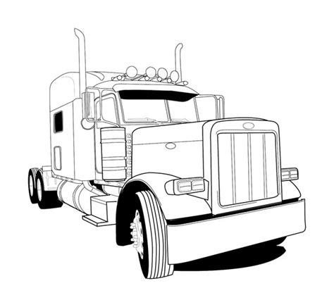 The Gallery For Gt Peterbilt Trucks Drawings Peterbilt Coloring Pages