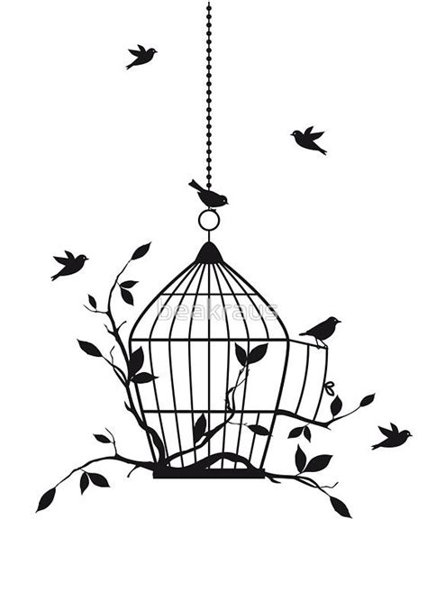 Cherry Blossom Tree Wall Sticker bird cage drawings art painting ink ideas art