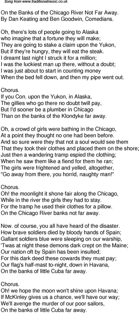 Old Time Song Lyrics for 59 On The Banks Of The Chicago