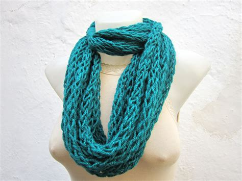 infinity scarf finger knitting scarf teal necklace by