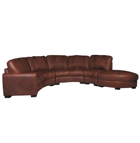Curved Leather Sofas Jonathan Sectional Curved Sectional Sofa In Chestnut Leather Contempo Space