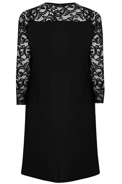 black swing dress with sleeves black swing dress with lace yoke sleeves plus size 16 to 36