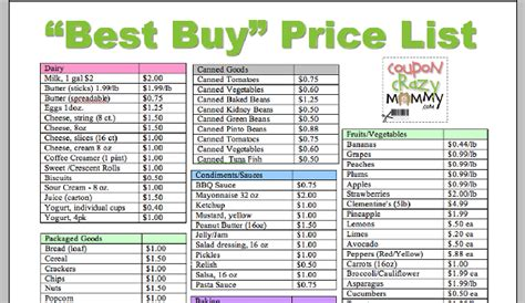 printable grocery list with prices printable grocery price list