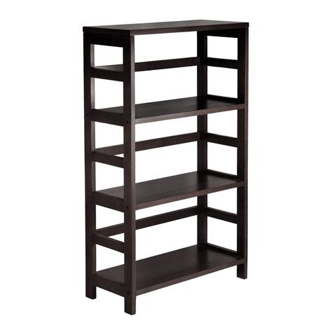 shop winsome wood leo dark espresso 3 shelf bookcase at