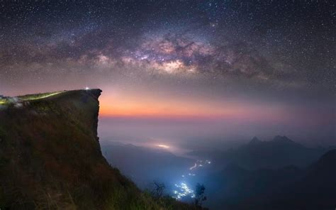 wallpaper abyss nature landscape nature mist space valley milky way long