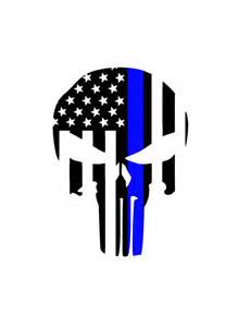 thin blue line skull defender car decal by thebeauregardbarn