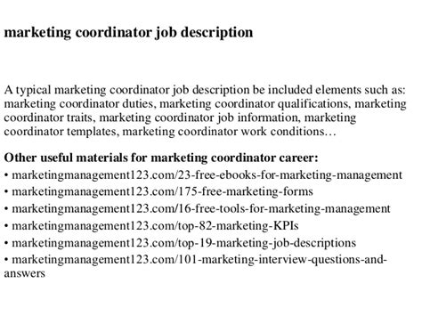 marketing coordinator description