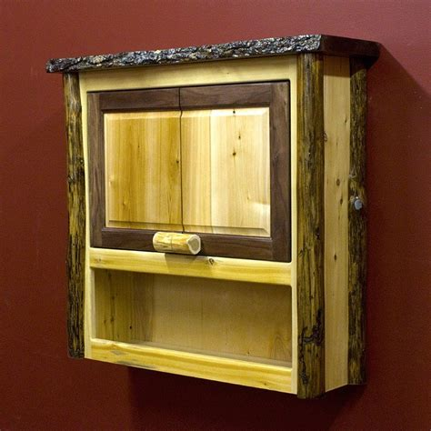 Rustic Cedar and Black Walnut Over the Toilet Cabinet