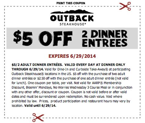 outback steakhouse save 5 on 2 dinner entrees outback steakhouse save 5 on 2 dinner entrees expires