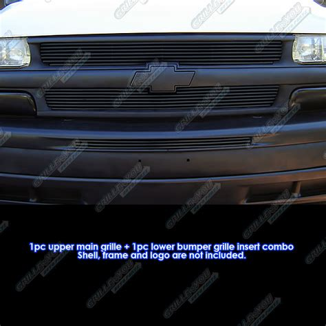 fits 1999 2002 chevy silverado 00 06 suburban tahoe black billet grille pack ebay