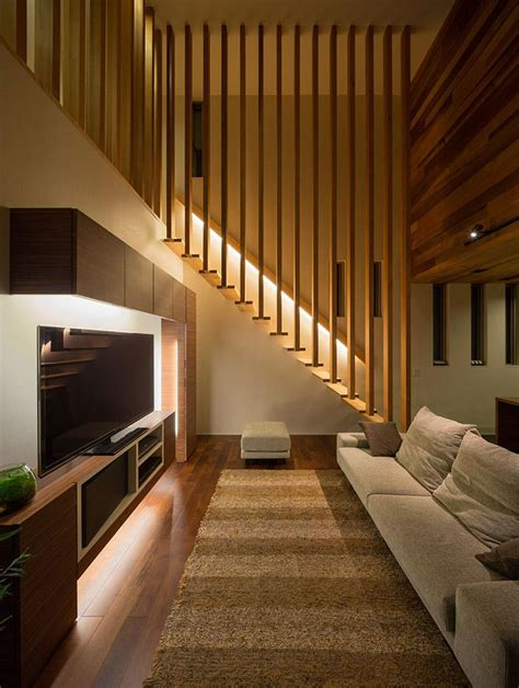Japanese Stairs Design Architecture Stairs Concept With Single Handle And Led Light It Home Plan