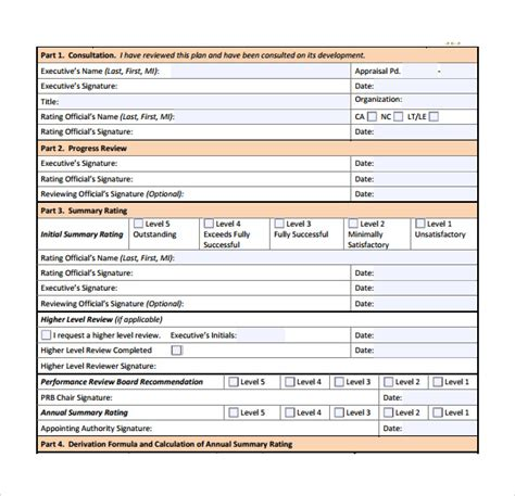 7 Performance Plan Sles Sle Templates Executive Performance Review Template