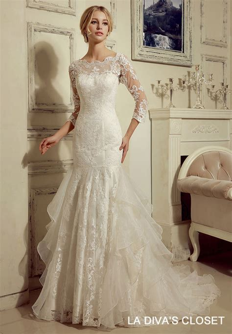 Wedding Dresses With Lace Sleeves by Formal Modest Lace Wedding Dress With 3 4 Lace Sleeves Ebay