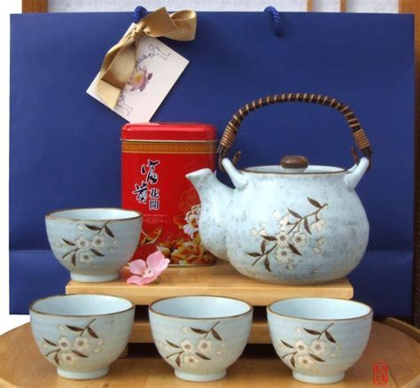 Gift Bag   Jasmine Tea & Tea Set Japanese light blue