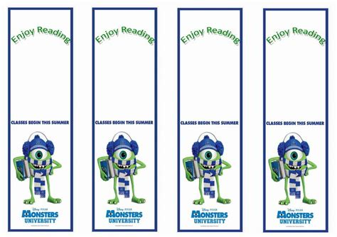 free printable hockey bookmarks monsters university themed bookmarks themed bookmarks