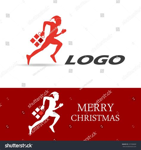 vector illustration logo christmas gift delivery stock