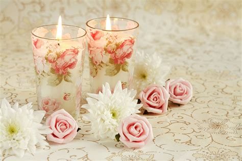 candele romantiche candles candles pink roses 32992