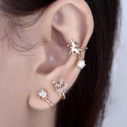 ear earring gold plated silver plated cubic zircon bird non piercing ear cuffs earring
