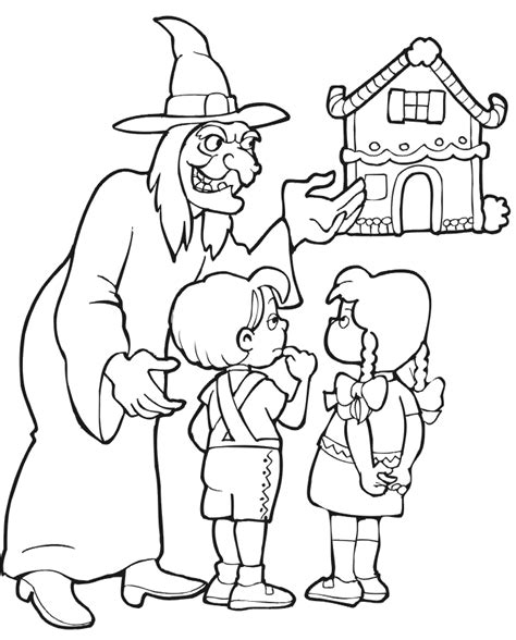 Hansel And Gretel Coloring Page Luring Kids To Cottage Hansel And Gretel Coloring Page