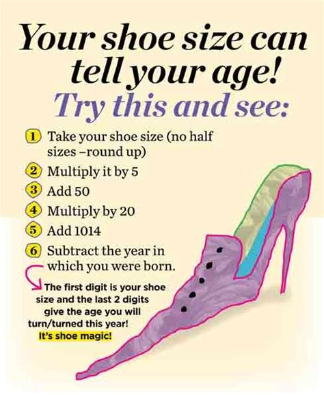 shoe size age your shoe size can tell your age is 1 i am and maths tricks