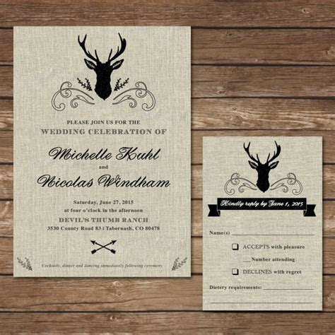 Wedding Diy Invitations by Rustic Deer Wedding Invitation Diy Wedding Invitation