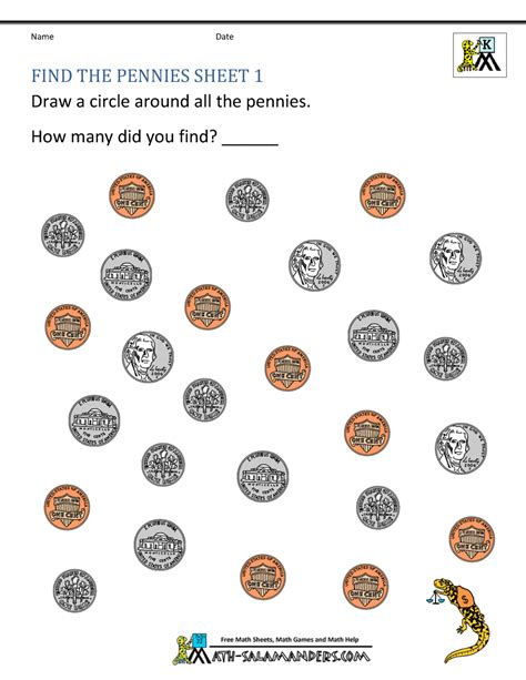 free printable coin worksheets for kindergarten kindergarten money worksheets 1st grade