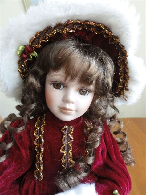 porcelain doll hair porcelain doll 16 quot with stand brown hair brown winter