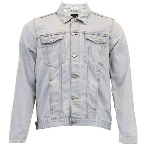 Premium Denim Jacket Ripped mens denim light wash ripped jacket brave soul western