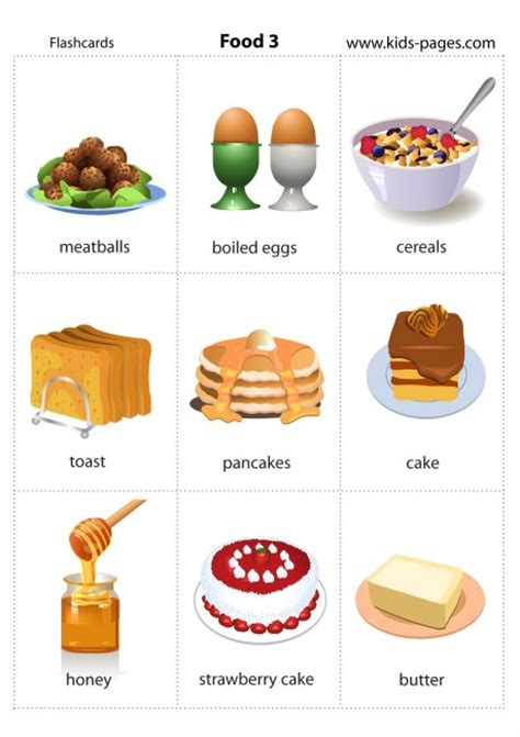 printable food flashcards for toddlers food 3 flashcard