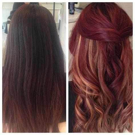 cute peekaboo highlights quot before after quot velvet red with peek a boo highlights i