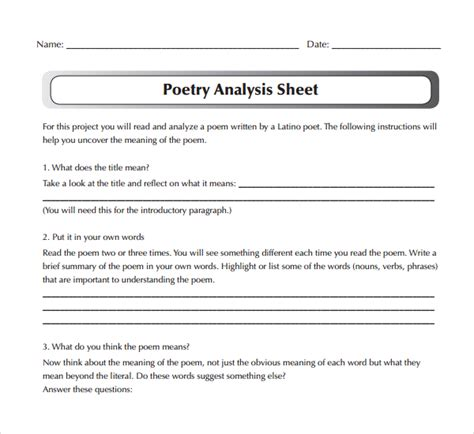 Poetry Analysis Worksheet Answers by Sle Poetry S Analysis Template 6 Free Documents In Pdf