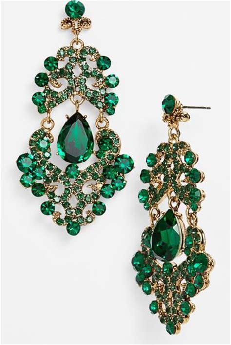 Green Chandelier Earrings Ornate Chandelier Earrings In Green Emerald Multi Antique Gold Lyst