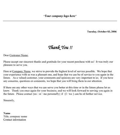 Customer Thank You Letter Ideas Free Printable Business Thank You Letter Template